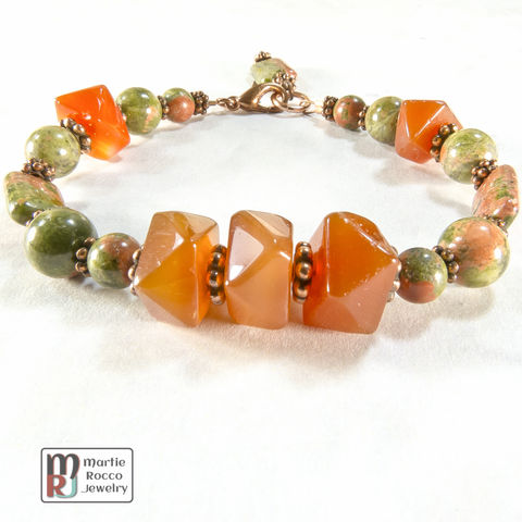 Carnelian,faceted,nugget,bracelet,with,Unakite,and,copper,Carnelian faceted nugget bracelet with Unakite and copper