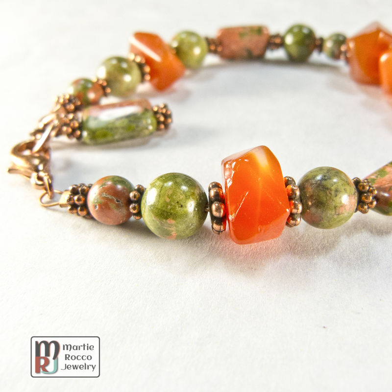 Carnelian faceted nugget bracelet with Unakite and copper - product images  of