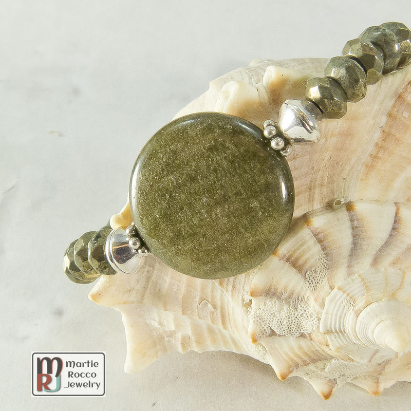 Pyrite, Green Cat's Eye and Sterling Silver bracelet - product images  of