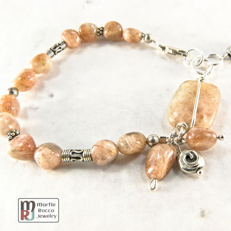 Sunstone nugget and sterling silver bracelet - product images  of