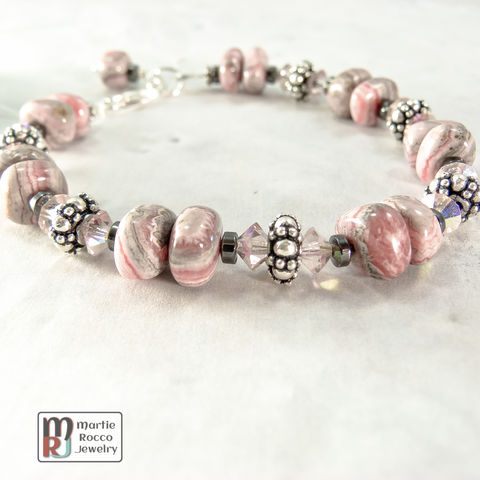Rhodocrosite,and,sterling,silver,bracelet,with,crystals,hematite,Rhodocrosite and sterling silver bracelet with crystals and hematite