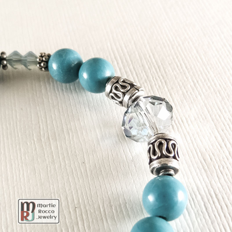 Turquoise bracelet with sterling silver and Swarovski crystals. - product images  of