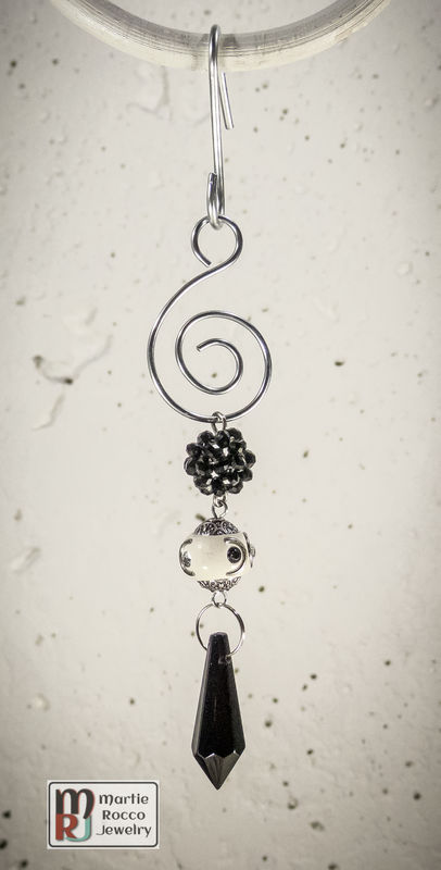 Black crystal drop Holiday Ornament Black and White beads - product images
