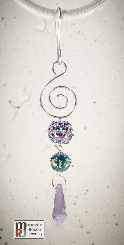 Purple crystal drop Teal Holiday Ornament - product images