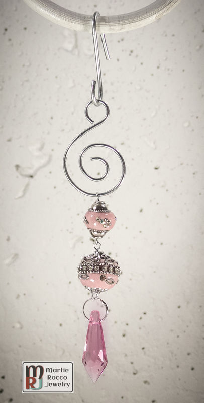Pink crystal drop Holiday Ornament - product images