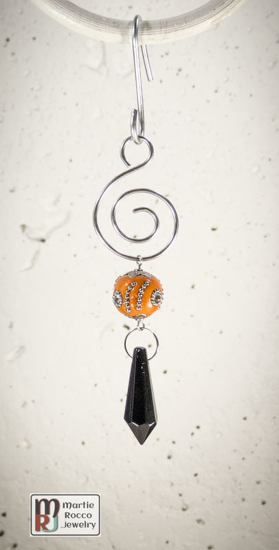 Black Crystal drop orange Holiday Ornament - product images