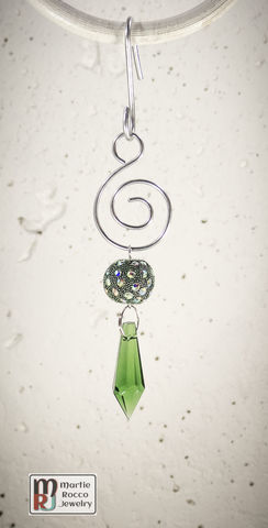 Green,Crystal,drop,Holiday,Ornament