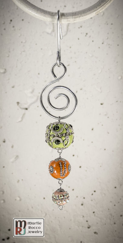 Green, Orange and Pink Holiday Ornament - product images
