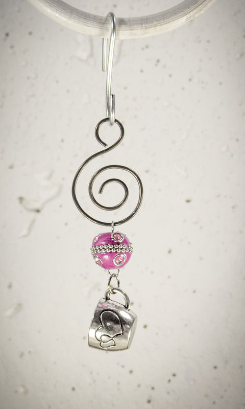 Holiday Ornament Pewter Coffee Cup charm with Pink bead - product images