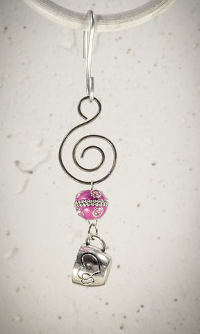 Holiday,Ornament,Pewter,Coffee,Cup,charm,with,Pink,bead,Holiday Ornament Pewter Coffee Cup charm with Pink bead