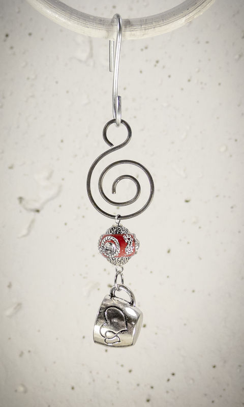 Holiday Ornament Pewter Coffee Cup charm with Red bead - product images