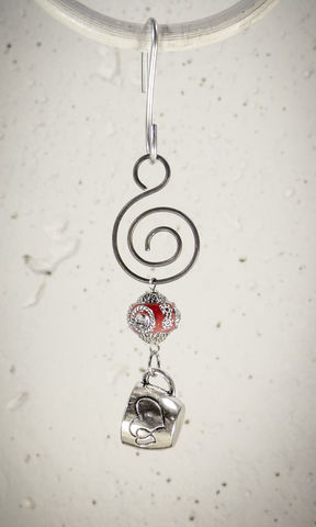 Holiday,Ornament,Pewter,Coffee,Cup,charm,with,Red,bead,Holiday Ornament Pewter Coffee Cup charm with Red bead