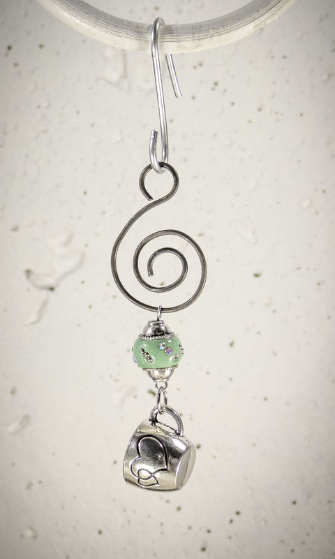 Holiday Ornament Pewter Coffee Cup charm with light Green bead - product images