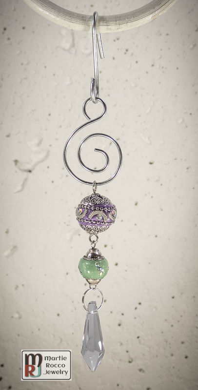 Purple and Green with crystal drop Holiday Ornament - product images