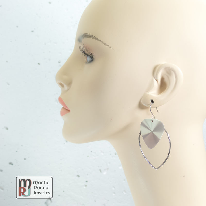 Guitar String hoop earrings with simulated metal print guitar pick charm. - product images  of