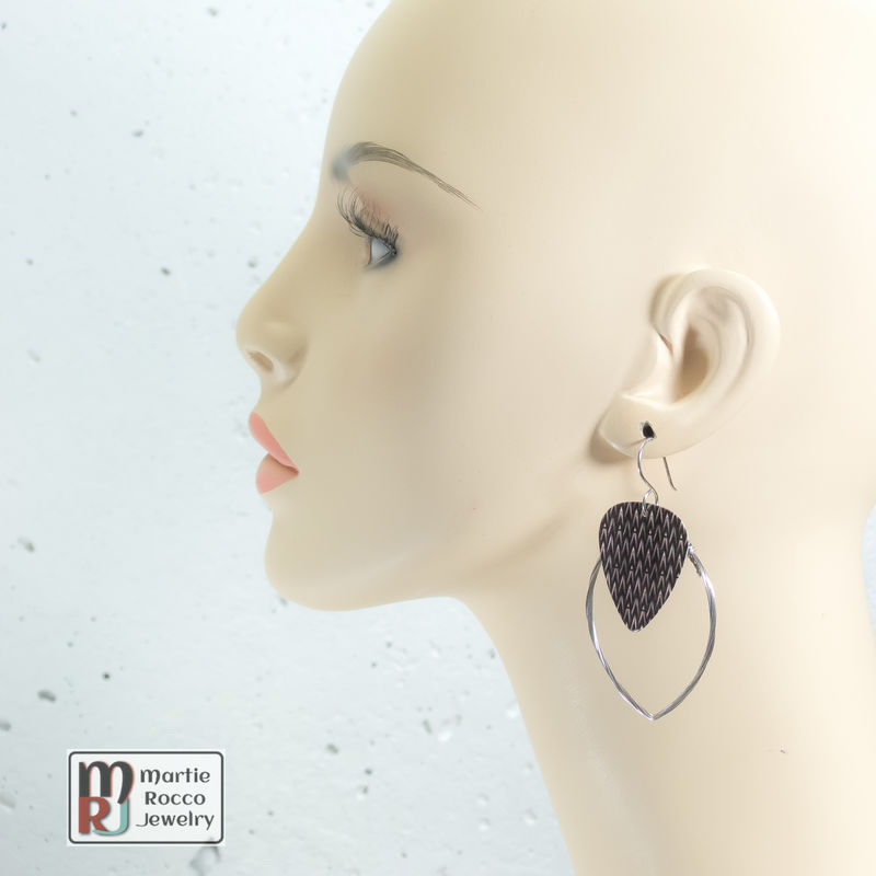 Guitar String hoop earrings with alien skin print guitar pick charm. - product images  of