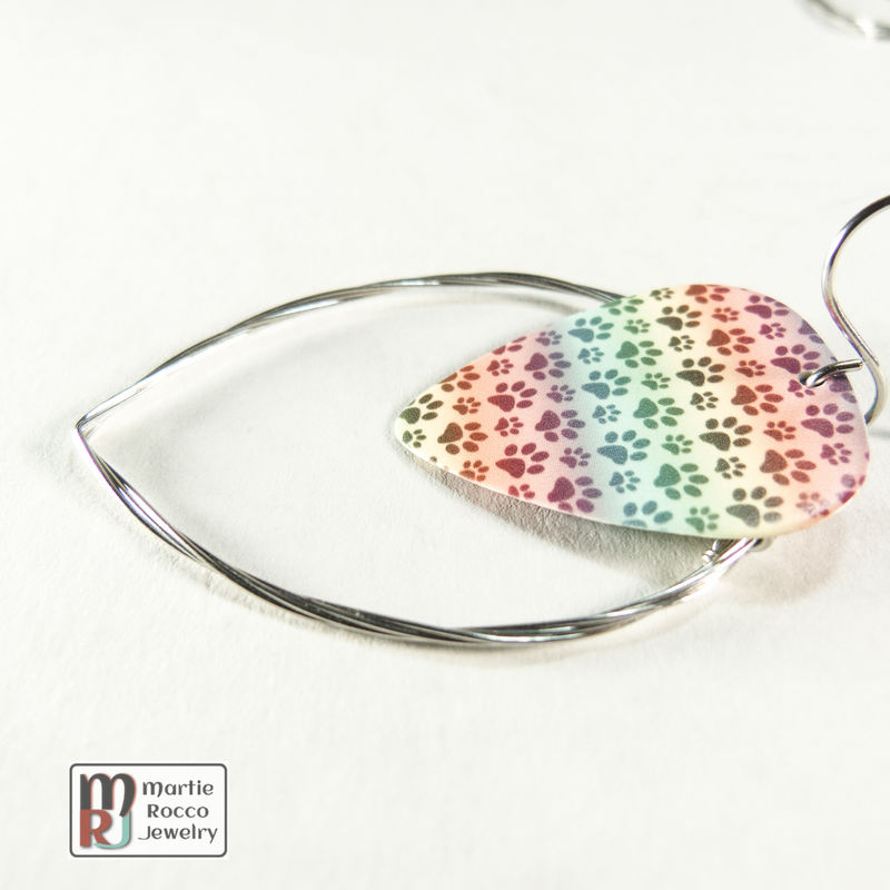 Guitar String hoop earrings with Pet paw rainbow print guitar pick charm. - product images  of