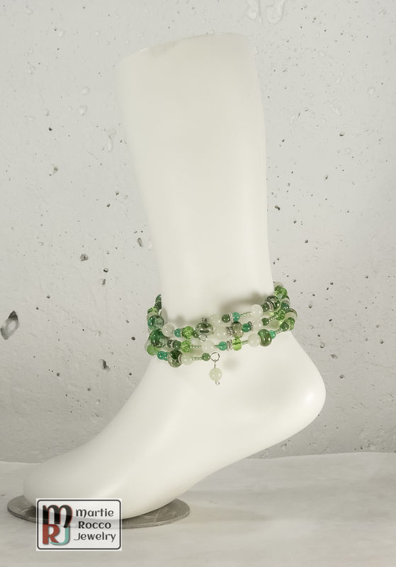 Green mixed bead memory wire bracelet or anklet - product images  of