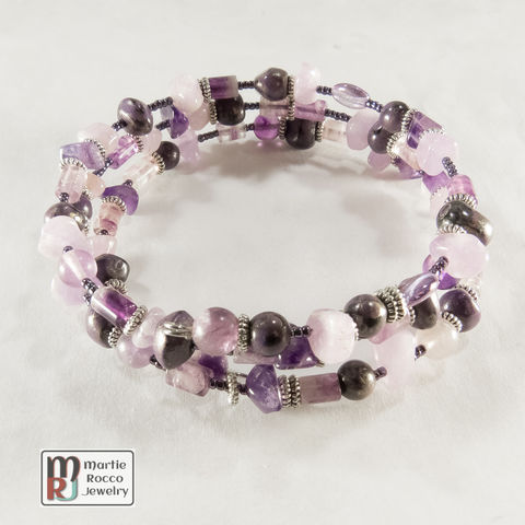 Purple,color,mixed,bead,memory,wire,bracelet,or,anklet