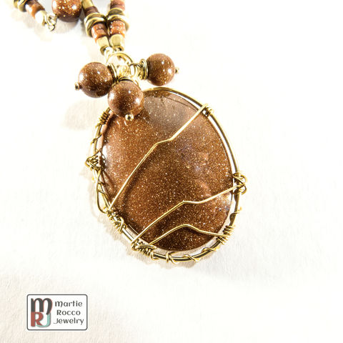 Brown,Goldstone,wire,wrapped,chain,necklace,brass,accents,Brown Goldstone wire wrapped chain necklace brass accents