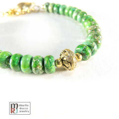Green,dyed,jasper,bracelet,brass,focal,bead,heart,charm,Green dyed jasper bracelet gold plated brass