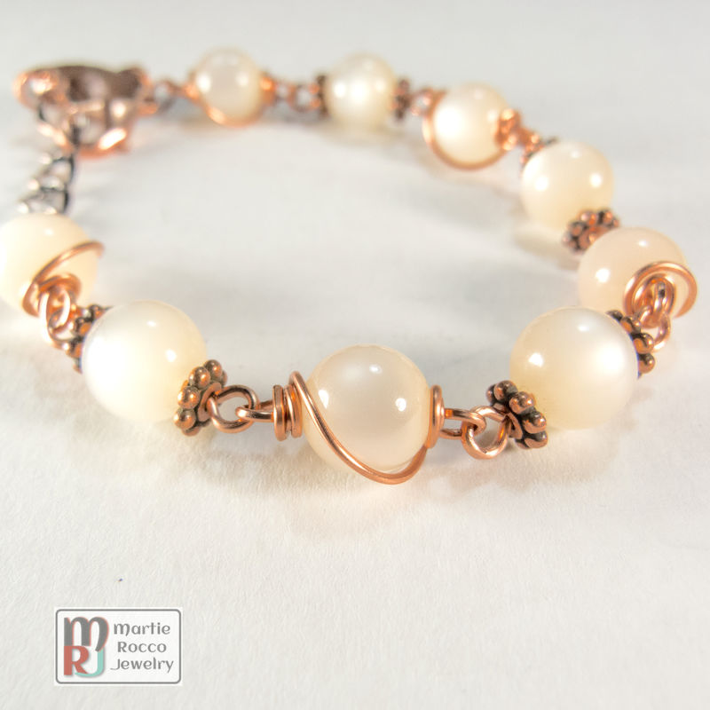Vintage peach moonglow beads, copper wire wrap and accents - product images  of
