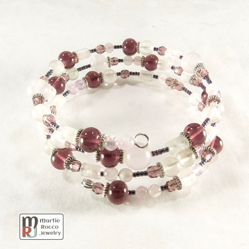 Mauve color mixed beads memory wire bracelet or anklet - product images  of