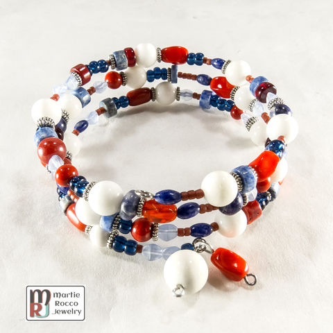 Red,,White,and,Blue,mixed,beads,memory,wire,bracelet,or,anklet,Red, White and Blue mixed beads memory wire bracelet or anklet