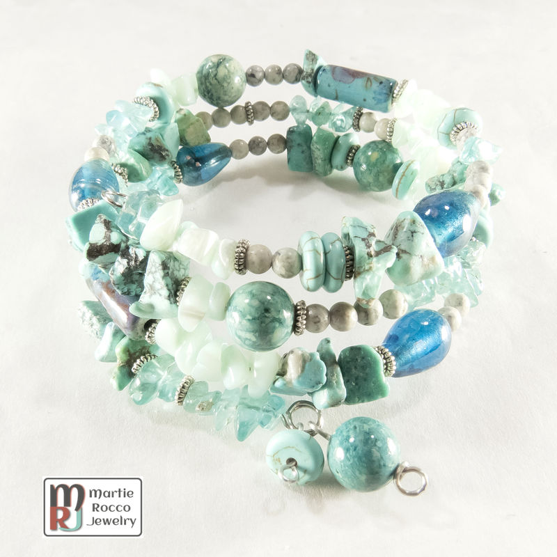 Turquoise color mixed beads memory wire bracelet or anklet - product images  of