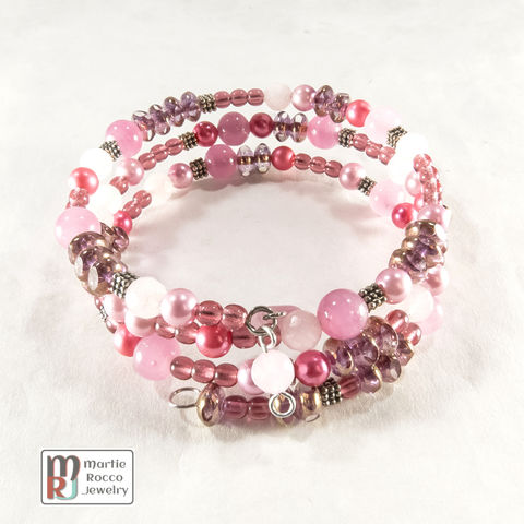 Pink,mixed,bead,memory,wire,bracelet,or,anklet,Pink mixed bead memory wire bracelet or anklet