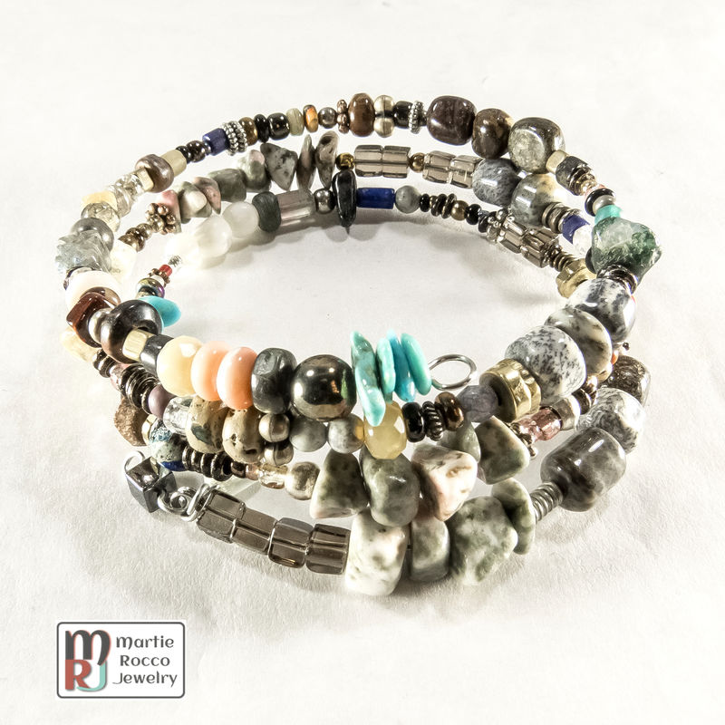 Multi-stone mixed bead memory wire bracelet or anklet - product images  of