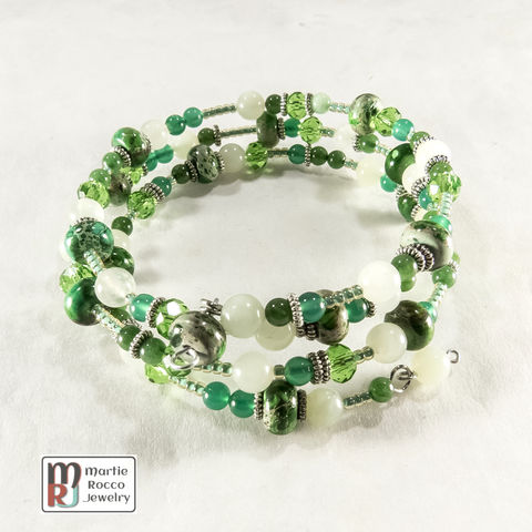 Green,mixed,bead,memory,wire,bracelet,or,anklet,Green mixed bead memory wire bracelet or anklet