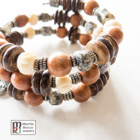 Mixed,wood,and,stone,memory,wire,bracelet,or,anklet,Mixed wood and stone memory wire bracelet or anklet