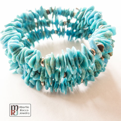 Turquoise,dyed,Hematite,chip,memory,wire,bracelet,Turquoise dyed Hematite chip memory wire bracelet
