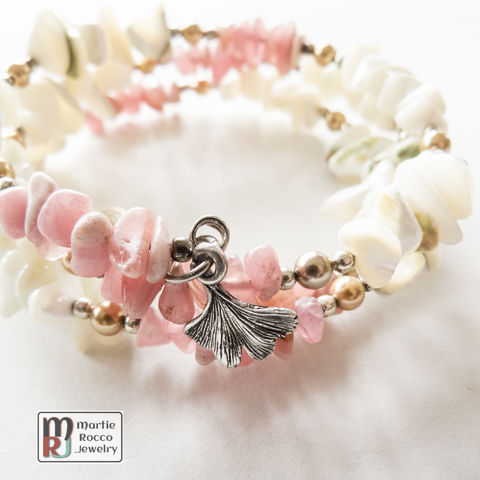 Rhodocrosite,and,shell,chips,memory,wire,bracelet,Rhodocrosite and shell chips memory wire bracelet