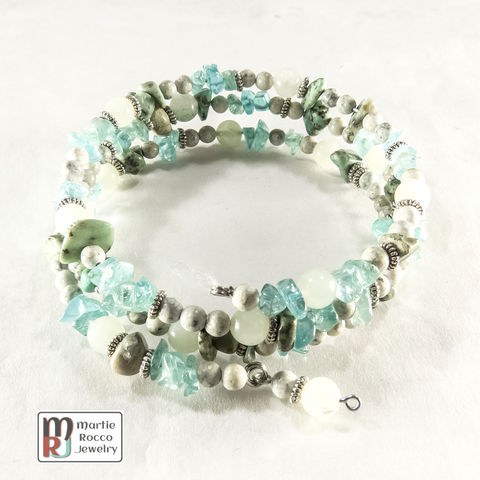 Blue,and,Green,mixed,bead,memory,wire,bracelet,or,anklet,Blue and Green mixed bead memory wire bracelet or anklet