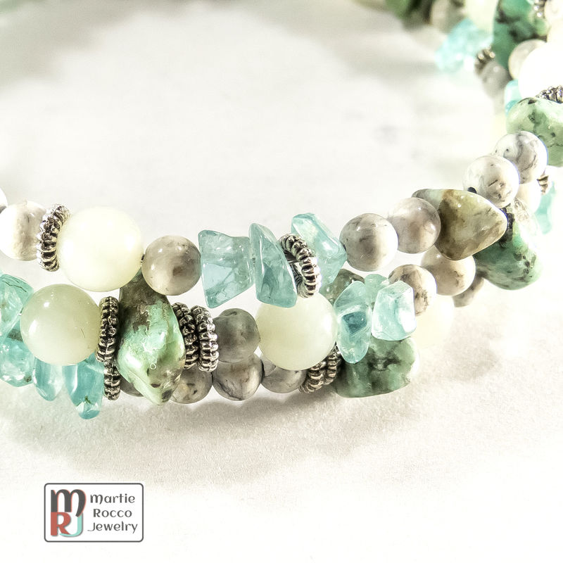 Blue and Green mixed bead memory wire bracelet or anklet - product images  of
