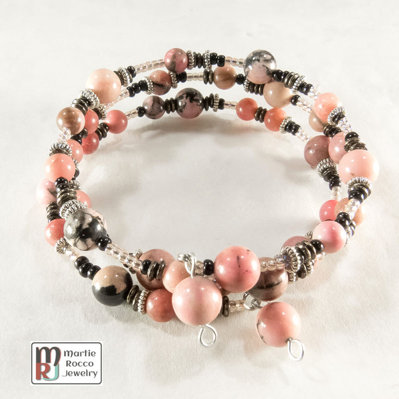 Rhodonite beads memory wire bracelet or anklet - product images  of