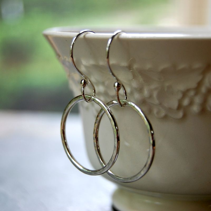 "Sterling Silver Hoop Earrings on Argentium Silver Ear Wires, ""Circles"" - product images  of"