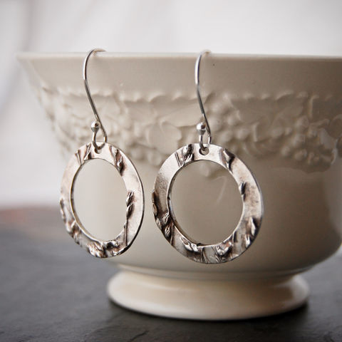Sterling Hoop Earrings, Kansas Prairie Grass, Switchgrass Silver Earrings - product images  of