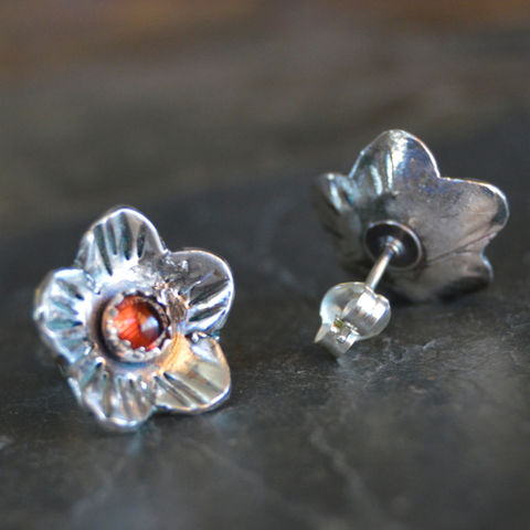 Artisan Poppy Stud Earrings, Sterling Silver and Garnet - product images  of