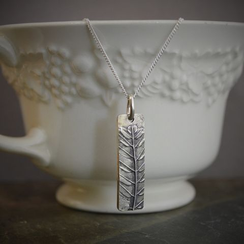 Leaf Pendant on Sterling Silver Chain, Kansas Prairie Lead Plant  - product images  of