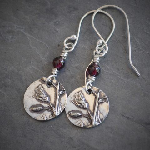 Botanical,Earrings,,Sterling,Silver,and,Garnet,Woodland,Wildflower,,Tickclover,Sterling silver earrings, garnet earrings, recycled sterling silver earrings, tickclover earrings, wildflower earrings, botanical earrings, woodland earrings, Kansas earrings, prairie earrings, gayle dowell, sterling silver jewelry, artisan jewelry, fine