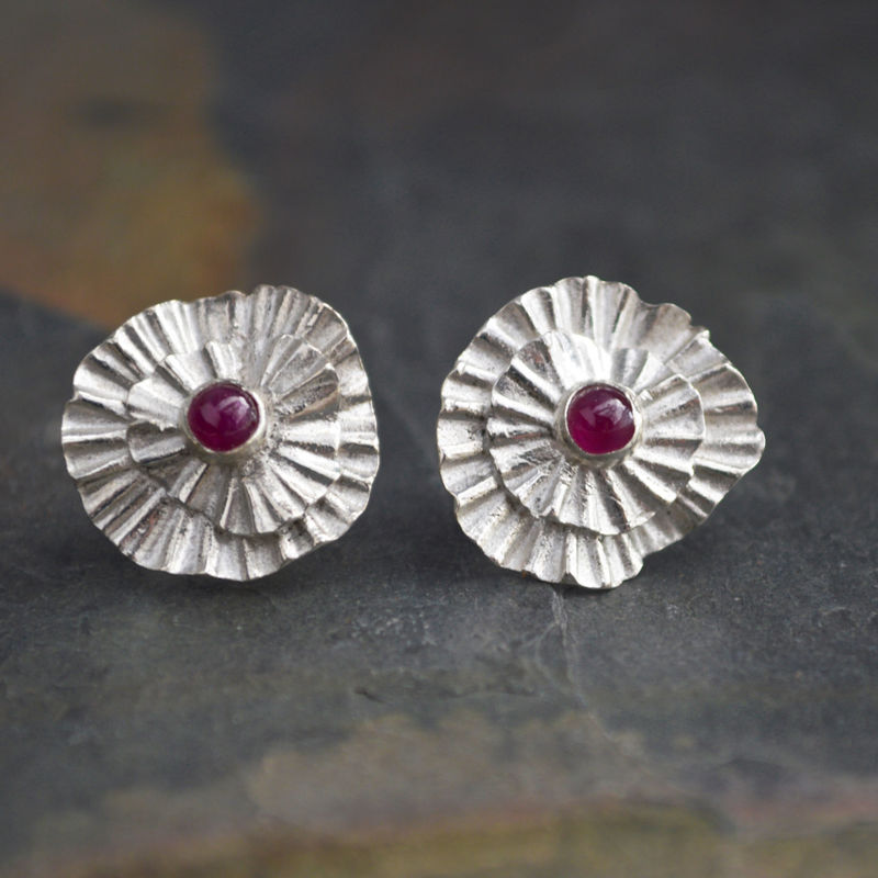 Ruby Stud Earrings in Fine Silver with Genuine Ruby Gemstone, Abiquiu Poppy, 15th Wedding Anniversary Gift, 40th Wedding Anniversary Gift - product images  of