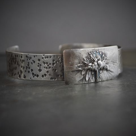 Black-eyed Susan Cuff Bracelet, Sterling Silver Bracelet, Wildflower Cuff, Kansas Cuff Bracelet - product images  of