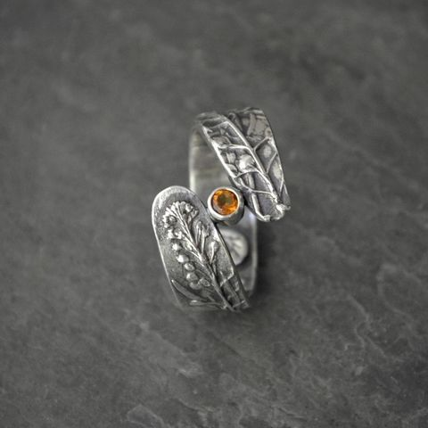Citrine,Nature,Ring,in,Sterling,Silver,,Peppergrass,from,the,Prairies,of,Kansas,citrine gemstone ring, sterling silver ring, peppergrass ring, Kansas ring, prairie grass ring, yellow gemstone ring, citrine nature ring, botanical ring, wrap ring, plant ring, gayle dowell, custom ring