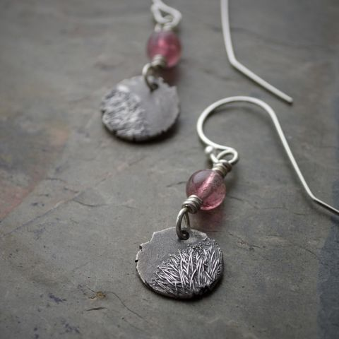Botanical Earrings, Catclaw Sensitive Briar Flower, Sterling Silver and Pink Tourmaline - product images  of