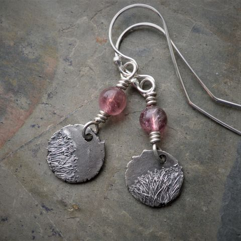 Botanical,Earrings,,Catclaw,Sensitive,Briar,Flower,,Sterling,Silver,and,Pink,Tourmaline,earthy earrings, catclaw sensitive briar, earrings, nature earrings, botanical earrings, gayle dowell, sterling silver, tourmaline earrings, prairie earrings, wildflower earrings, pink earrings