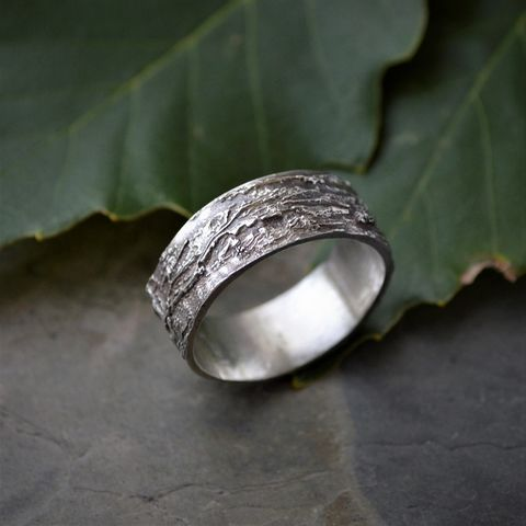 Tree,Bark,Ring,,Chinkapin,Oak,in,Sterling,Silver,,Unique,Wedding,Band,tree ring, bark ring, band ring, sterling silver, ring, textured ring, unique wedding band, botanical ring, kansas ring, oak tree ring, oak tree bark band, chinkapin oak ring, nature ring, gayle dowell