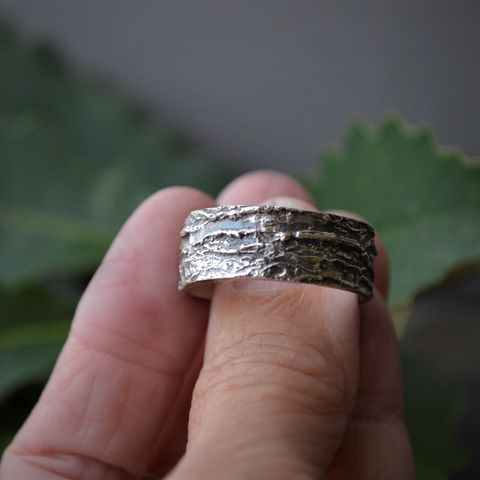 Tree Bark Ring, Chinkapin Oak in Sterling Silver, Unique Wedding Band - product images  of